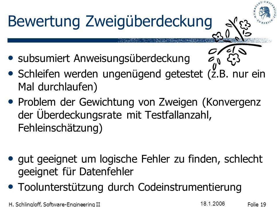 Folie 19 H. Schlingloff, Software-Engineering II 18.1.2006 Bewertung Zweigüberdeckung subsumiert Anweisungsüberdeckung Schleifen werden ungenügend get
