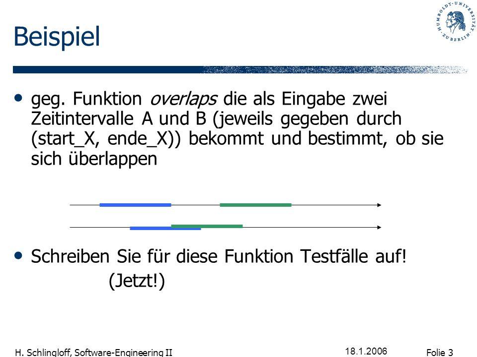 Folie 3 H. Schlingloff, Software-Engineering II 18.1.2006 Beispiel geg. Funktion overlaps die als Eingabe zwei Zeitintervalle A und B (jeweils gegeben