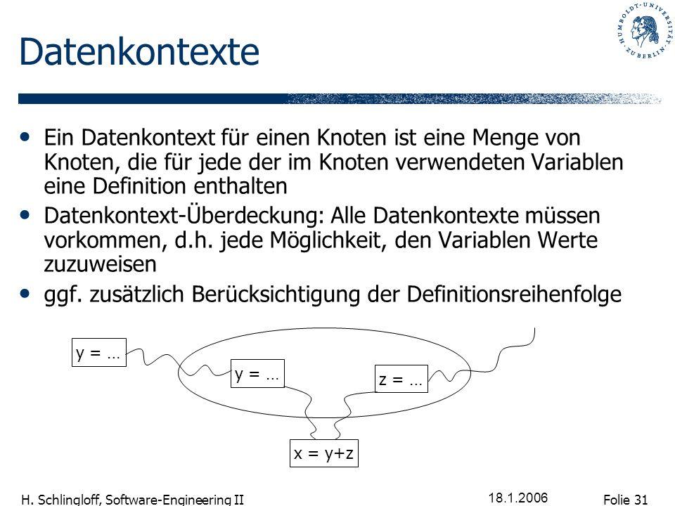 Folie 31 H. Schlingloff, Software-Engineering II 18.1.2006 Datenkontexte Ein Datenkontext für einen Knoten ist eine Menge von Knoten, die für jede der