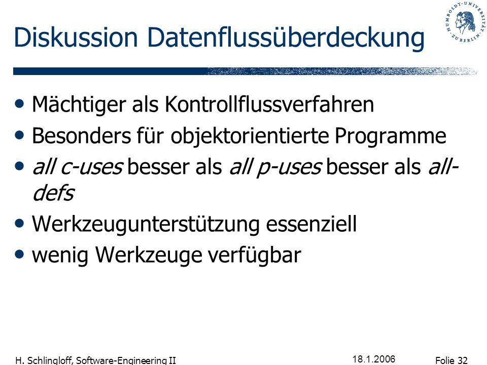 Folie 32 H. Schlingloff, Software-Engineering II 18.1.2006 Diskussion Datenflussüberdeckung Mächtiger als Kontrollflussverfahren Besonders für objekto