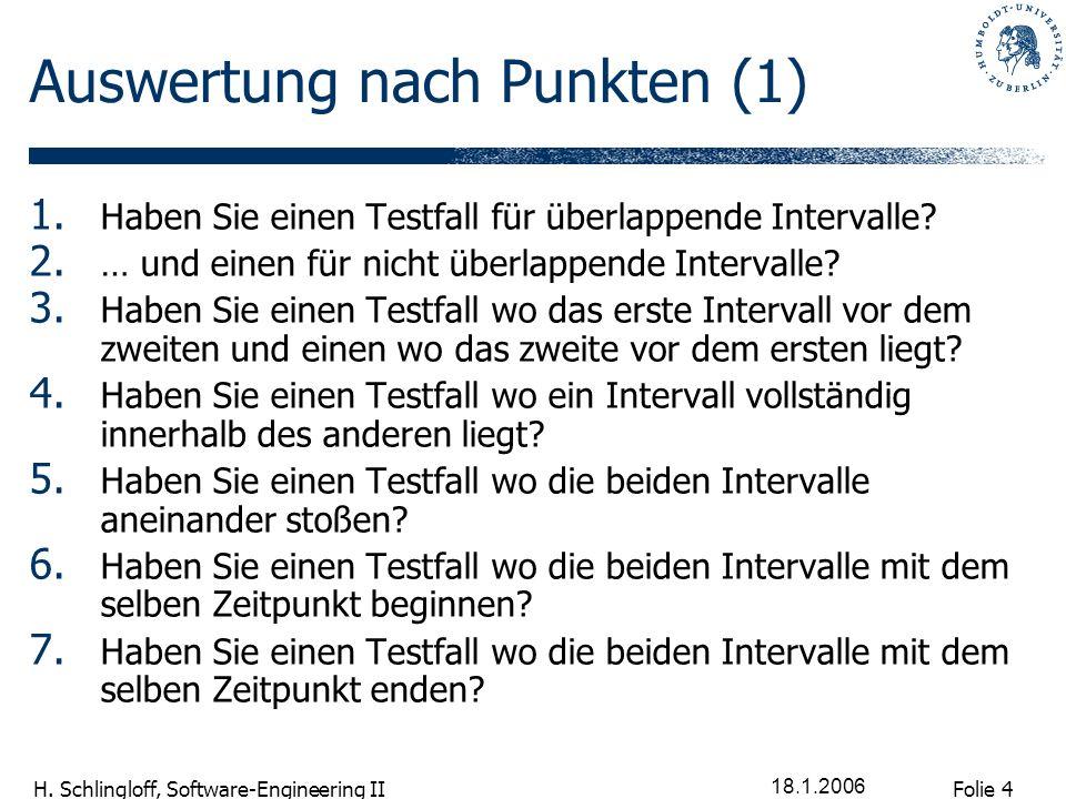 Folie 4 H. Schlingloff, Software-Engineering II 18.1.2006 Auswertung nach Punkten (1) 1. Haben Sie einen Testfall für überlappende Intervalle? 2. … un