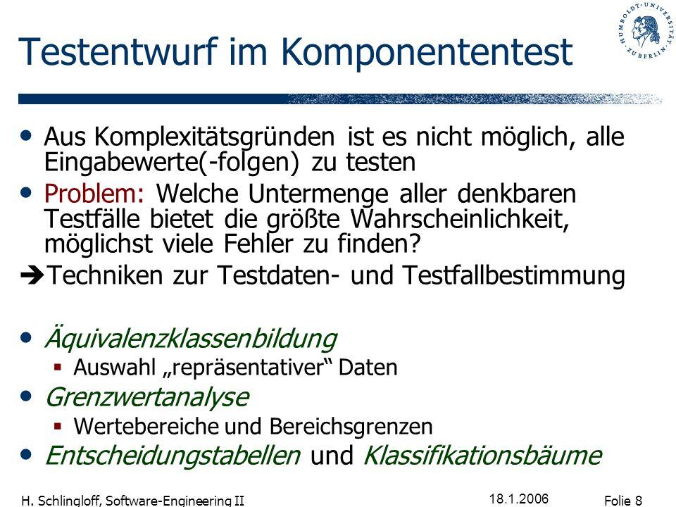 Folie 8 H. Schlingloff, Software-Engineering II 18.1.2006 Testentwurf im Komponententest Aus Komplexitätsgründen ist es nicht möglich, alle Eingabewer