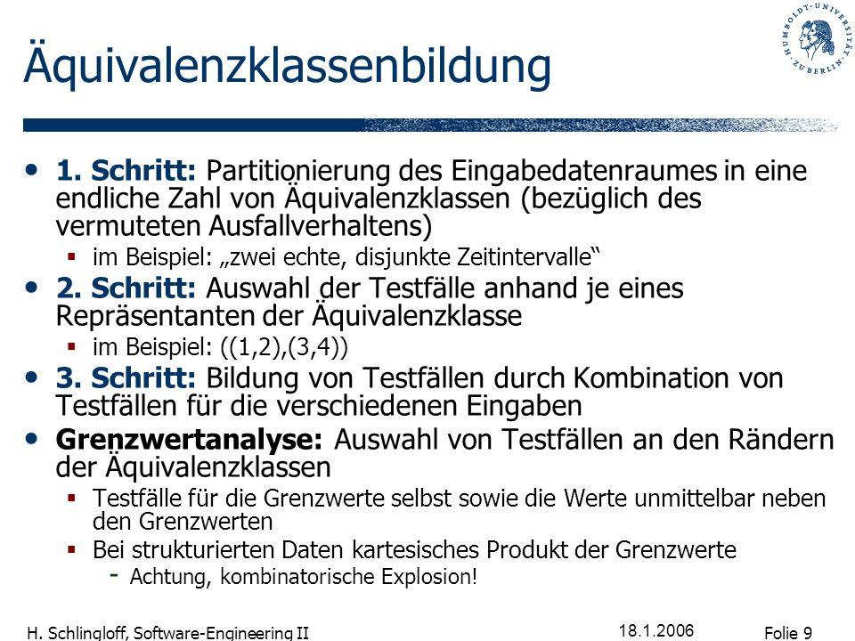 Folie 9 H. Schlingloff, Software-Engineering II 18.1.2006 Äquivalenzklassenbildung 1. Schritt: Partitionierung des Eingabedatenraumes in eine endliche