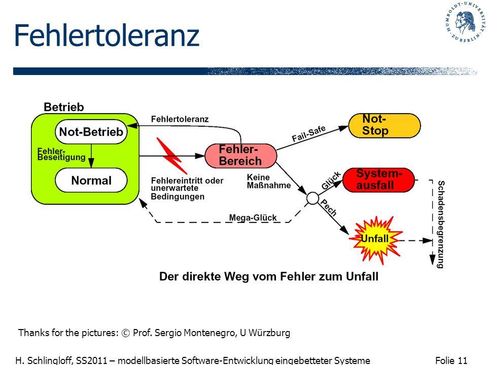 Folie 11 H. Schlingloff, SS2011 – modellbasierte Software-Entwicklung eingebetteter Systeme Fehlertoleranz Thanks for the pictures: © Prof. Sergio Mon