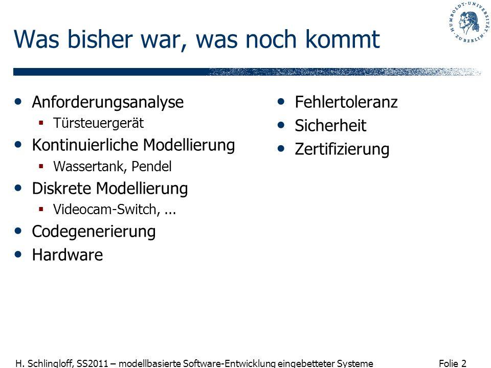 Folie 2 H. Schlingloff, SS2011 – modellbasierte Software-Entwicklung eingebetteter Systeme Was bisher war, was noch kommt Anforderungsanalyse Türsteue
