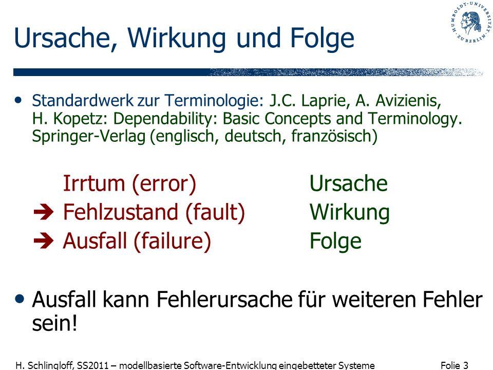 Folie 3 H. Schlingloff, SS2011 – modellbasierte Software-Entwicklung eingebetteter Systeme Ursache, Wirkung und Folge Standardwerk zur Terminologie: J