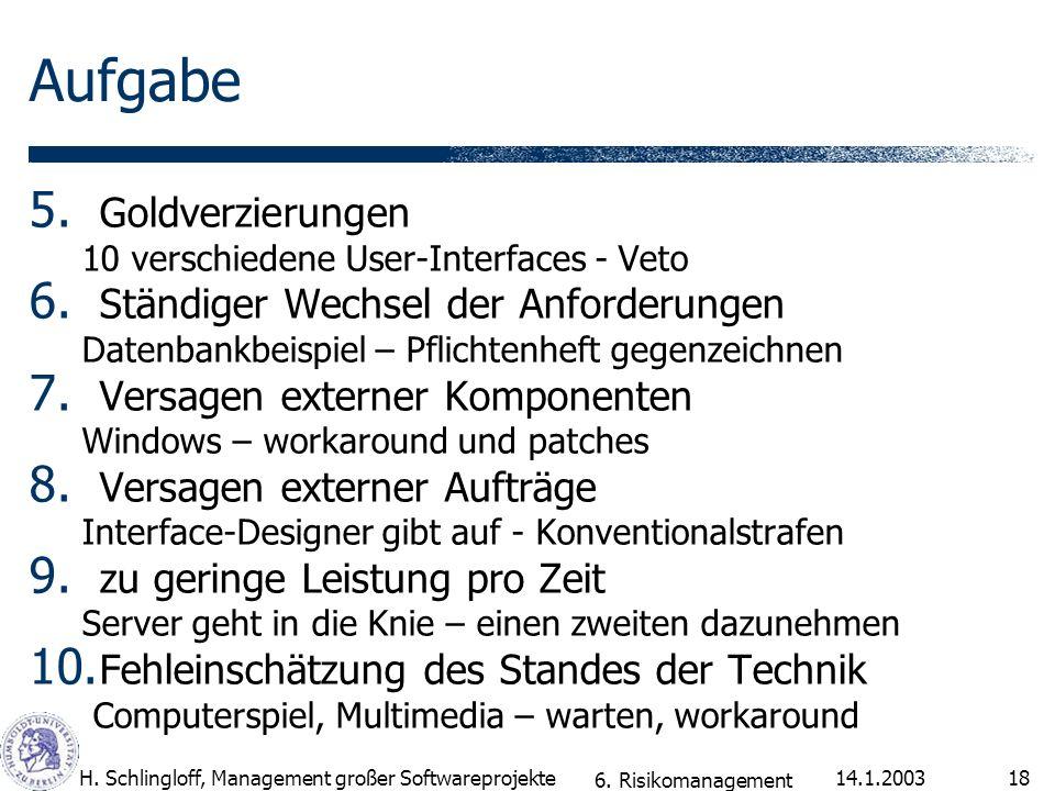 14.1.2003H.Schlingloff, Management großer Softwareprojekte18 Aufgabe 5.