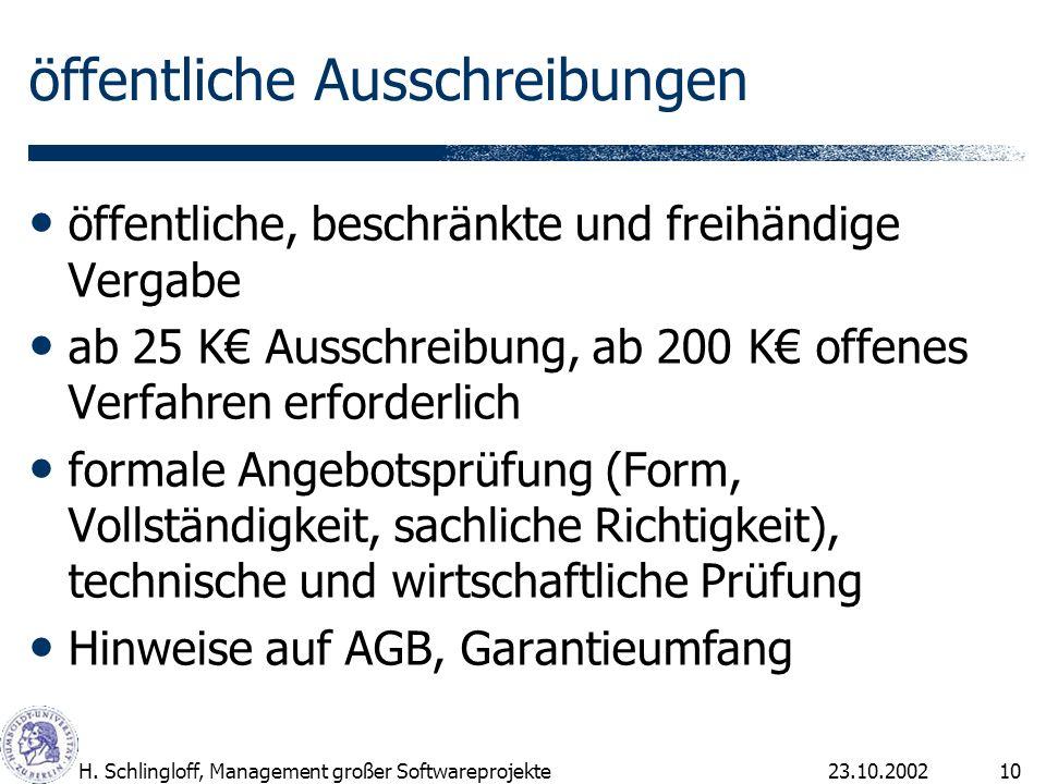 23.10.2002H. Schlingloff, Management großer Softwareprojekte10 öffentliche Ausschreibungen öffentliche, beschränkte und freihändige Vergabe ab 25 K Au