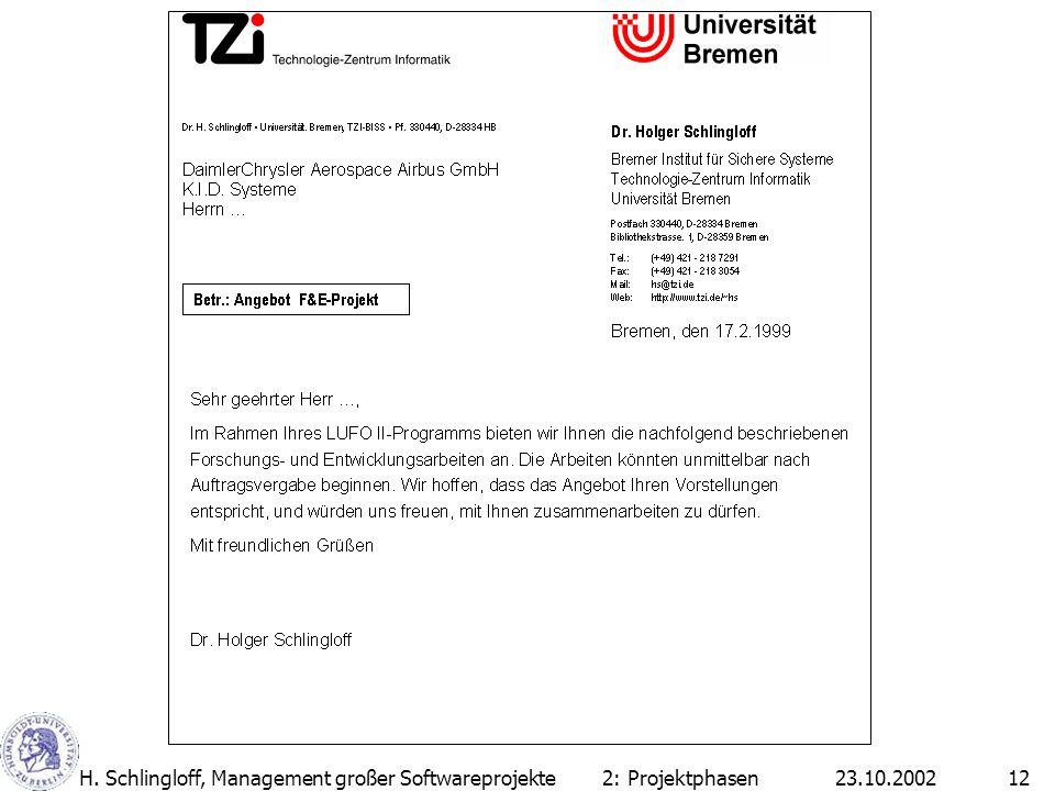 23.10.2002H. Schlingloff, Management großer Softwareprojekte12 2: Projektphasen