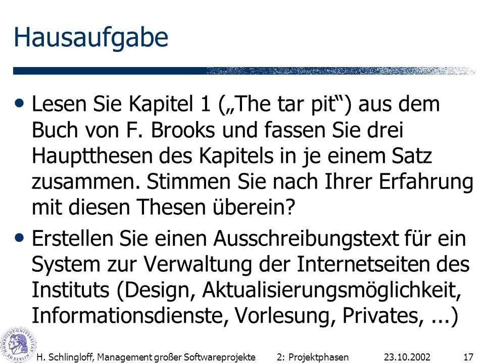 23.10.2002H. Schlingloff, Management großer Softwareprojekte17 Hausaufgabe Lesen Sie Kapitel 1 (The tar pit) aus dem Buch von F. Brooks und fassen Sie