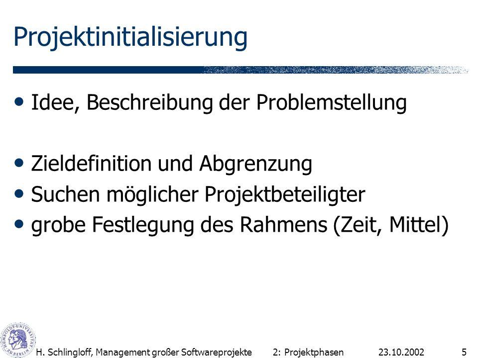 23.10.2002H. Schlingloff, Management großer Softwareprojekte5 Projektinitialisierung Idee, Beschreibung der Problemstellung Zieldefinition und Abgrenz