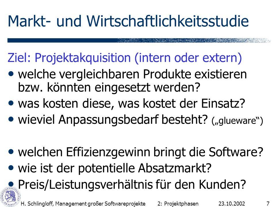 23.10.2002H. Schlingloff, Management großer Softwareprojekte7 Markt- und Wirtschaftlichkeitsstudie Ziel: Projektakquisition (intern oder extern) welch