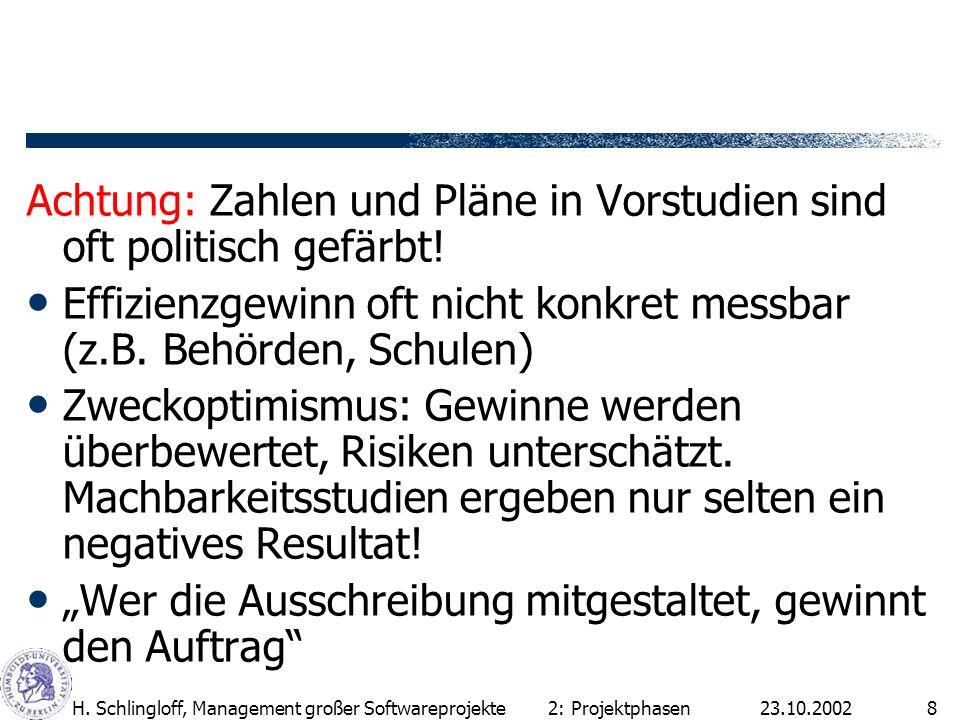 23.10.2002H. Schlingloff, Management großer Softwareprojekte8 Achtung: Zahlen und Pläne in Vorstudien sind oft politisch gefärbt! Effizienzgewinn oft