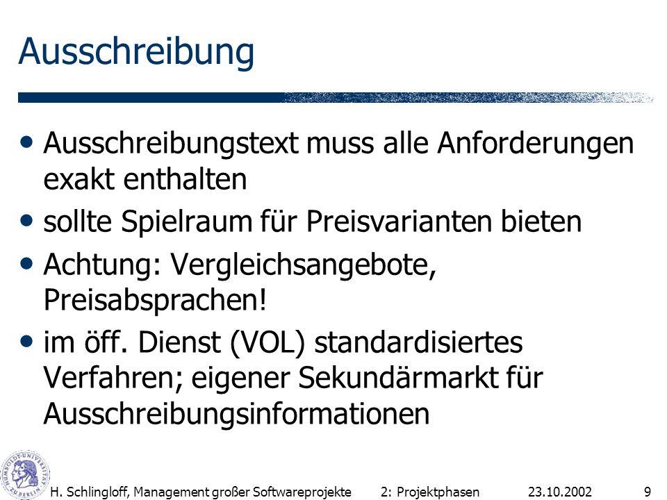 23.10.2002H. Schlingloff, Management großer Softwareprojekte9 Ausschreibung Ausschreibungstext muss alle Anforderungen exakt enthalten sollte Spielrau
