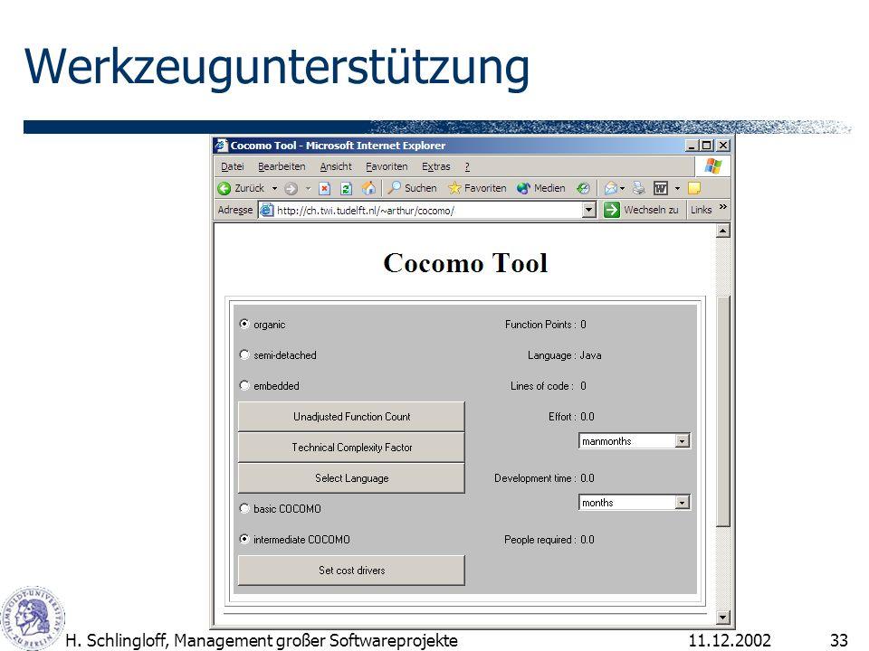 11.12.2002H. Schlingloff, Management großer Softwareprojekte33 Werkzeugunterstützung
