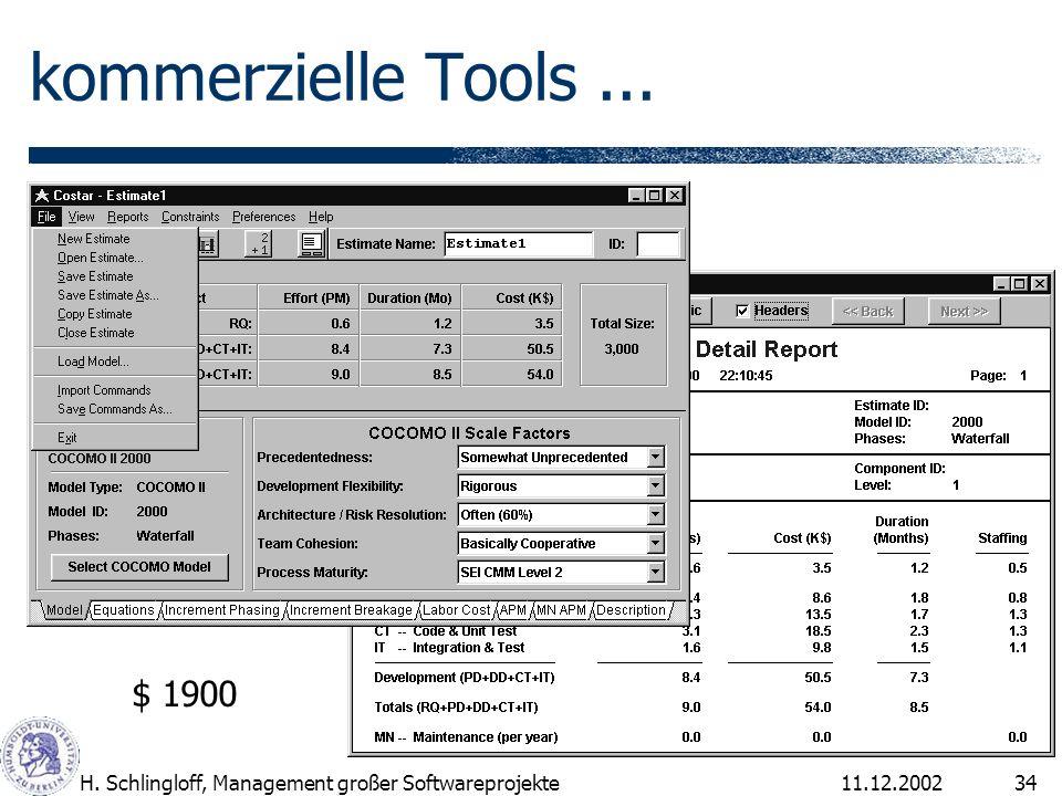 11.12.2002H. Schlingloff, Management großer Softwareprojekte34 kommerzielle Tools... $ 1900