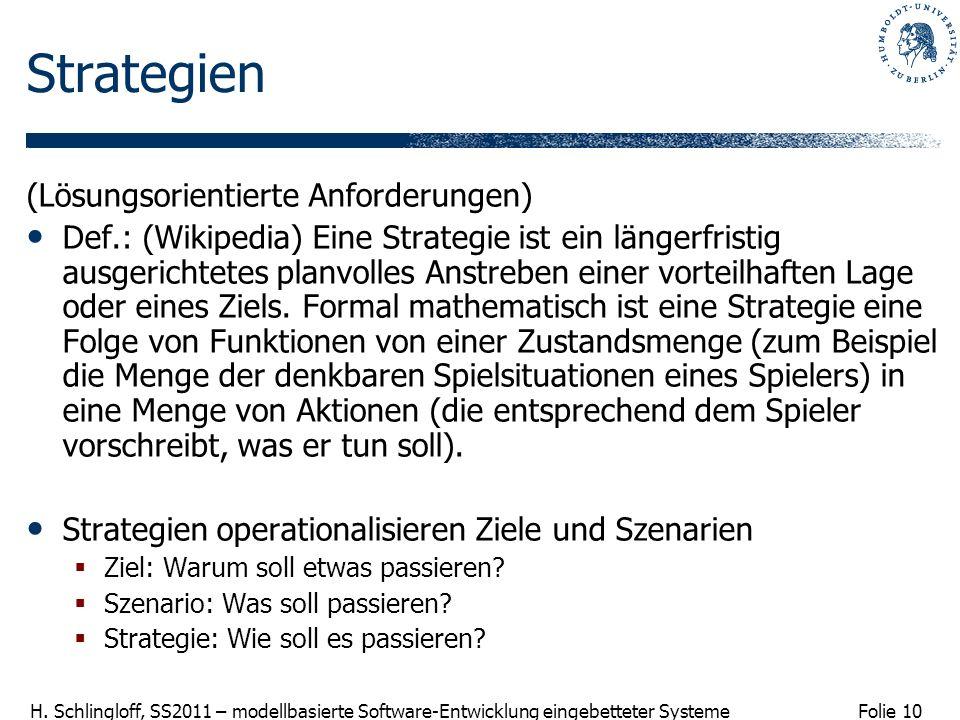 Folie 10 H. Schlingloff, SS2011 – modellbasierte Software-Entwicklung eingebetteter Systeme Strategien (Lösungsorientierte Anforderungen) Def.: (Wikip