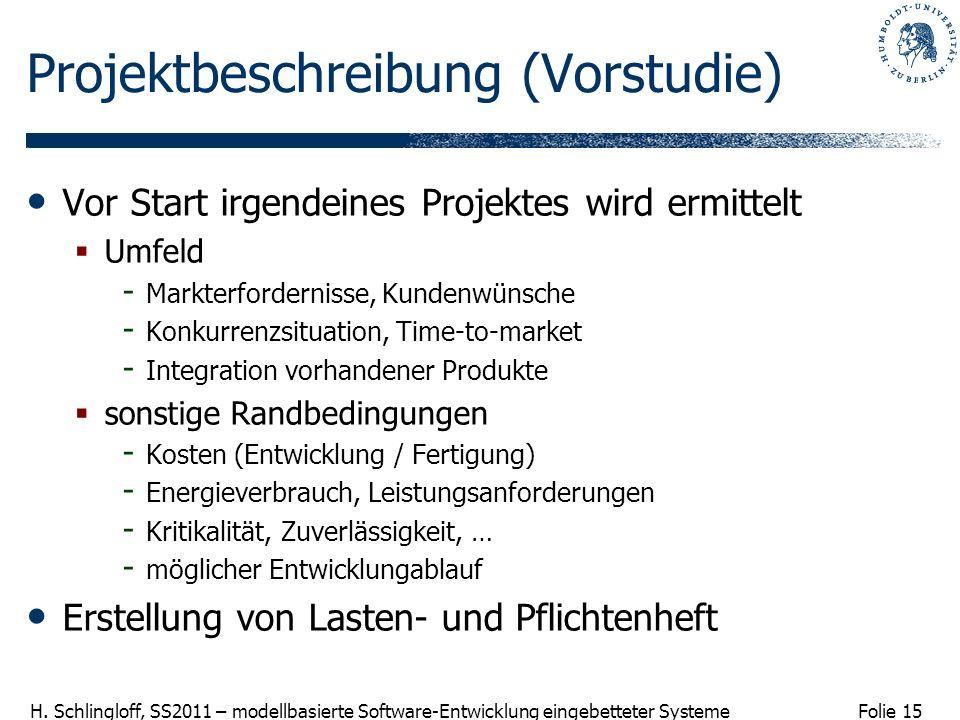 Folie 15 H. Schlingloff, SS2011 – modellbasierte Software-Entwicklung eingebetteter Systeme Projektbeschreibung (Vorstudie) Vor Start irgendeines Proj