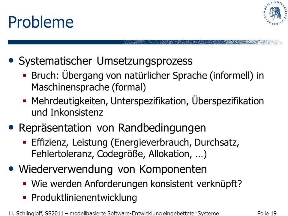Folie 19 H. Schlingloff, SS2011 – modellbasierte Software-Entwicklung eingebetteter Systeme Probleme Systematischer Umsetzungsprozess Bruch: Übergang