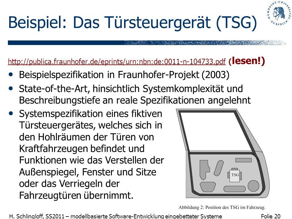 Folie 20 H. Schlingloff, SS2011 – modellbasierte Software-Entwicklung eingebetteter Systeme Beispiel: Das Türsteuergerät (TSG) http://publica.fraunhof
