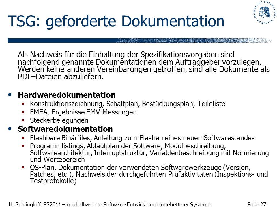 Folie 27 H. Schlingloff, SS2011 – modellbasierte Software-Entwicklung eingebetteter Systeme TSG: geforderte Dokumentation Als Nachweis für die Einhalt