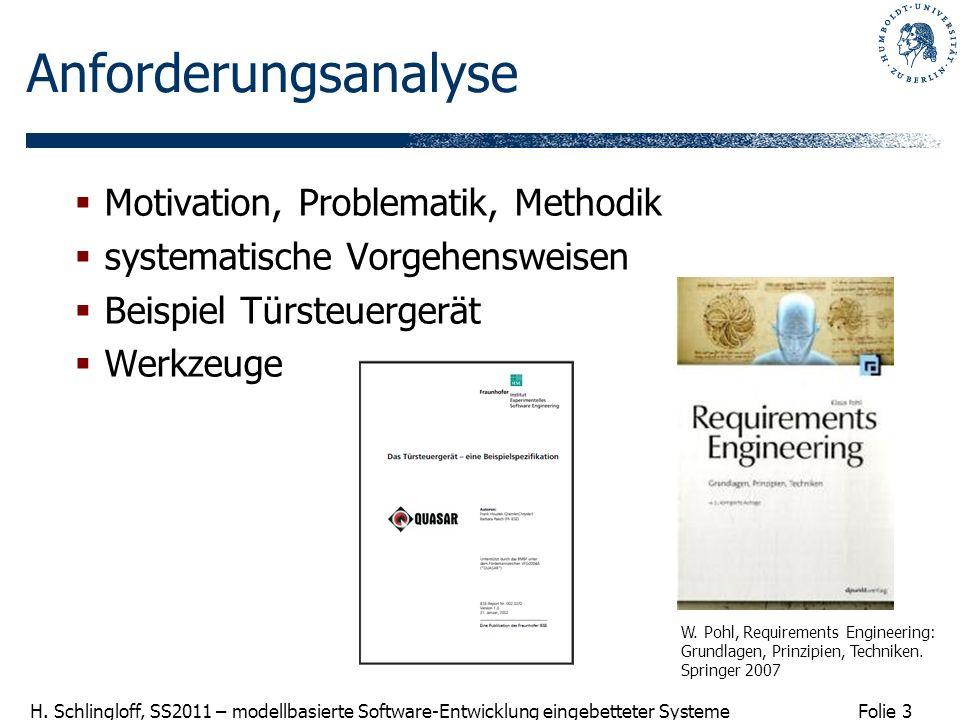 Folie 3 H. Schlingloff, SS2011 – modellbasierte Software-Entwicklung eingebetteter Systeme Anforderungsanalyse Motivation, Problematik, Methodik syste