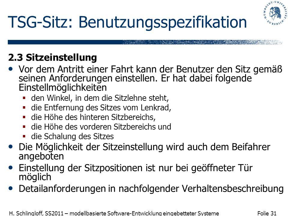 Folie 31 H. Schlingloff, SS2011 – modellbasierte Software-Entwicklung eingebetteter Systeme TSG-Sitz: Benutzungsspezifikation 2.3 Sitzeinstellung Vor