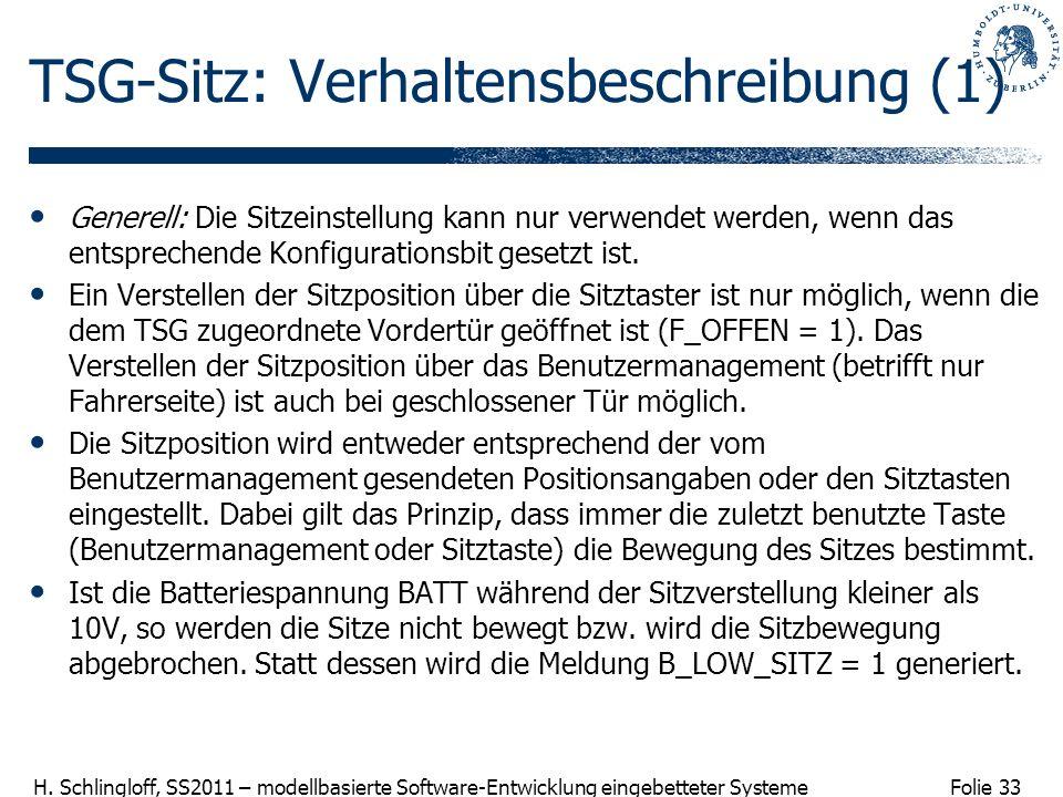 Folie 33 H. Schlingloff, SS2011 – modellbasierte Software-Entwicklung eingebetteter Systeme TSG-Sitz: Verhaltensbeschreibung (1) Generell: Die Sitzein
