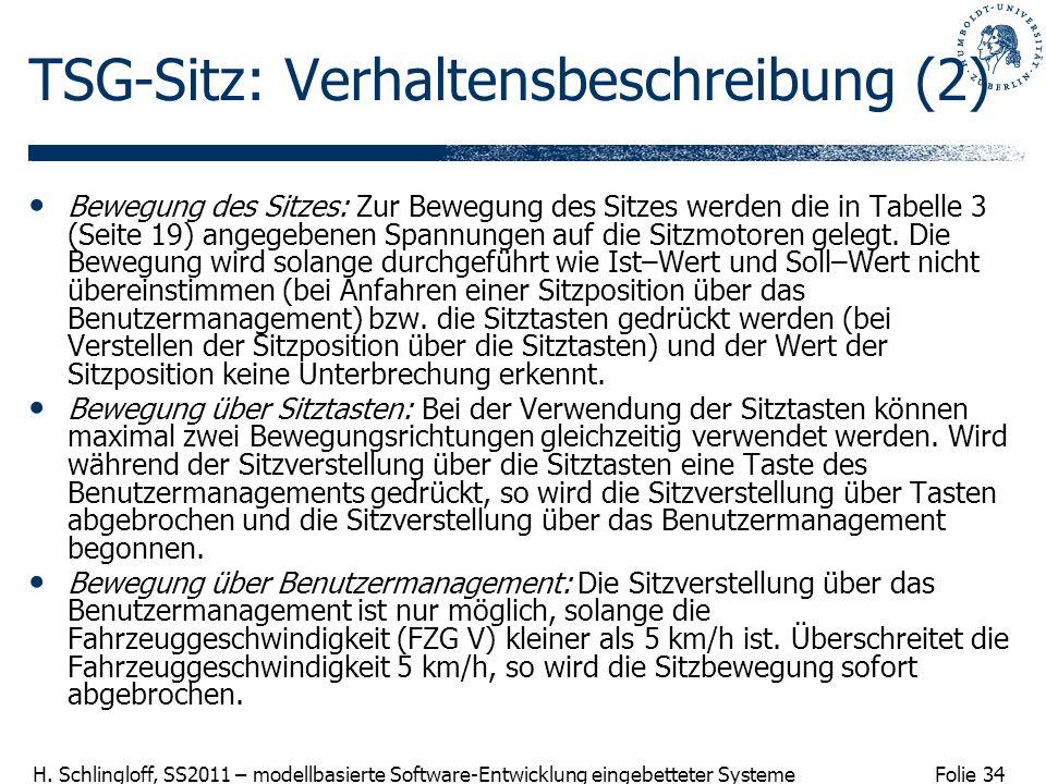 Folie 34 H. Schlingloff, SS2011 – modellbasierte Software-Entwicklung eingebetteter Systeme TSG-Sitz: Verhaltensbeschreibung (2) Bewegung des Sitzes: