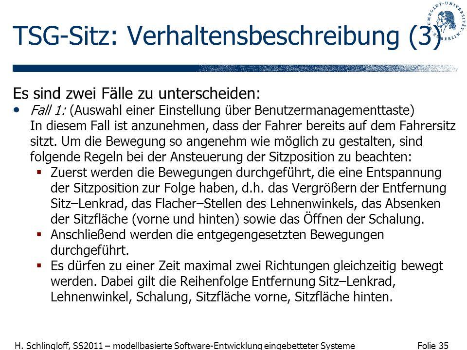 Folie 35 H. Schlingloff, SS2011 – modellbasierte Software-Entwicklung eingebetteter Systeme TSG-Sitz: Verhaltensbeschreibung (3) Es sind zwei Fälle zu