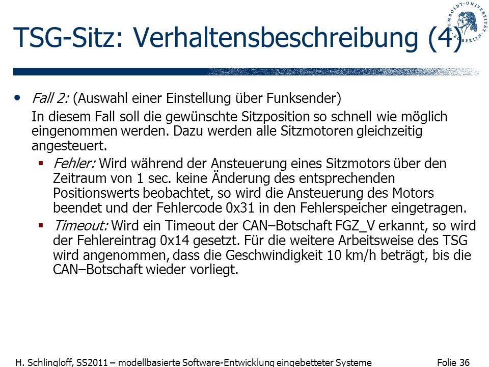 Folie 36 H. Schlingloff, SS2011 – modellbasierte Software-Entwicklung eingebetteter Systeme TSG-Sitz: Verhaltensbeschreibung (4) Fall 2: (Auswahl eine