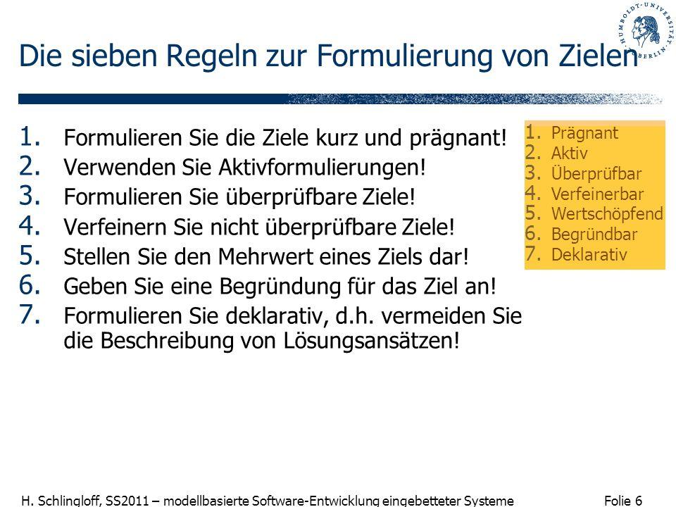 Folie 6 H. Schlingloff, SS2011 – modellbasierte Software-Entwicklung eingebetteter Systeme Die sieben Regeln zur Formulierung von Zielen 1. Formuliere