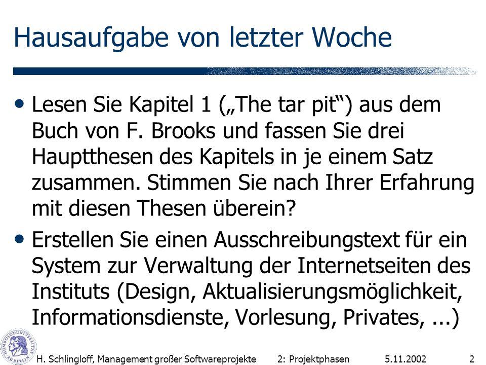 5.11.2002H. Schlingloff, Management großer Softwareprojekte2 Hausaufgabe von letzter Woche Lesen Sie Kapitel 1 (The tar pit) aus dem Buch von F. Brook