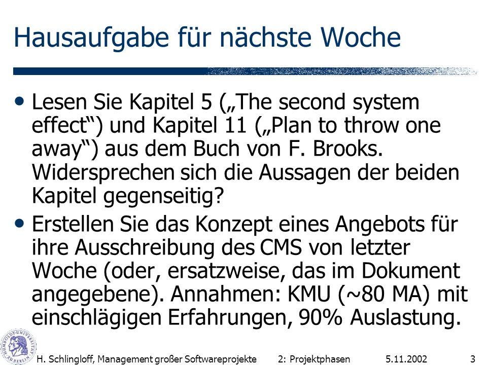 5.11.2002H. Schlingloff, Management großer Softwareprojekte3 Lesen Sie Kapitel 5 (The second system effect) und Kapitel 11 (Plan to throw one away) au
