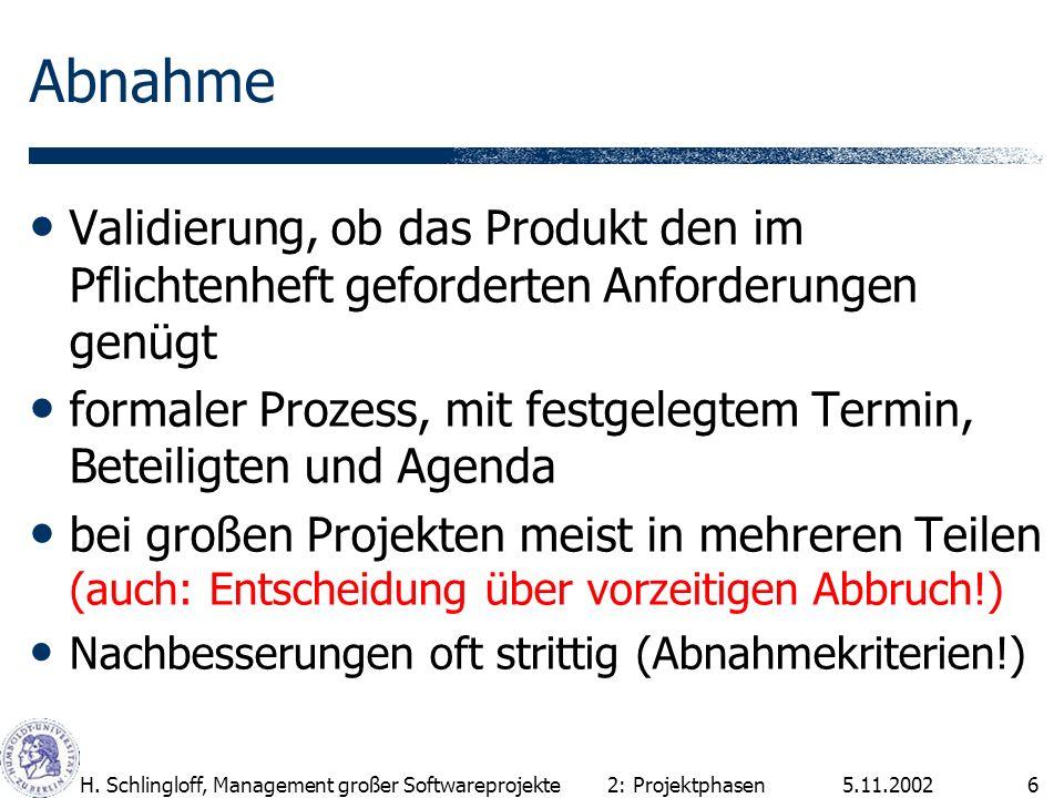 5.11.2002H. Schlingloff, Management großer Softwareprojekte6 Abnahme Validierung, ob das Produkt den im Pflichtenheft geforderten Anforderungen genügt