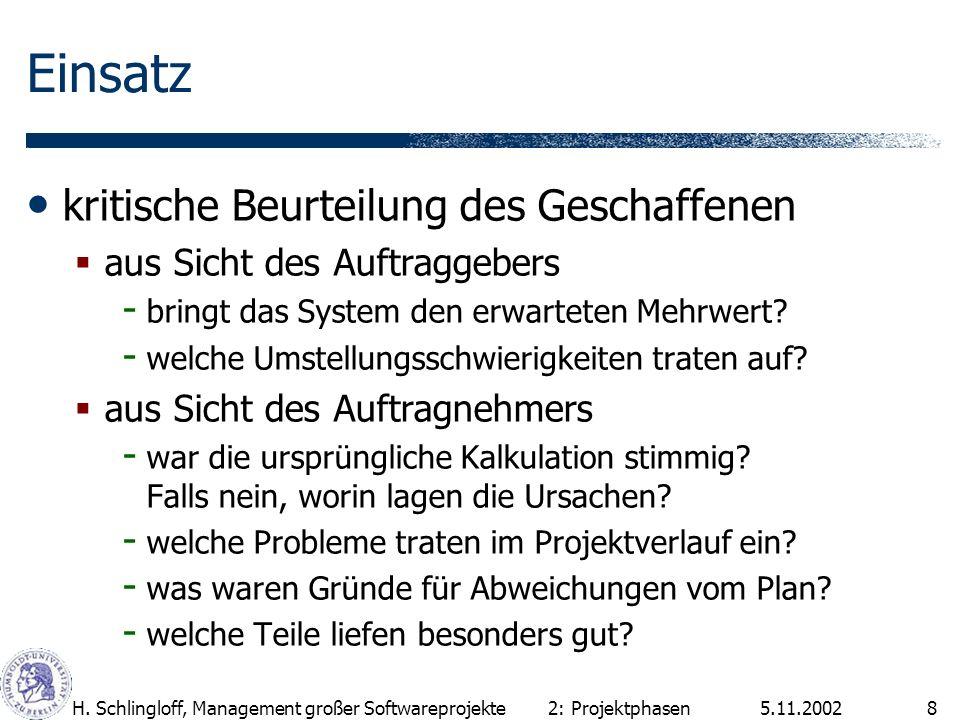 5.11.2002H. Schlingloff, Management großer Softwareprojekte8 Einsatz kritische Beurteilung des Geschaffenen aus Sicht des Auftraggebers - bringt das S