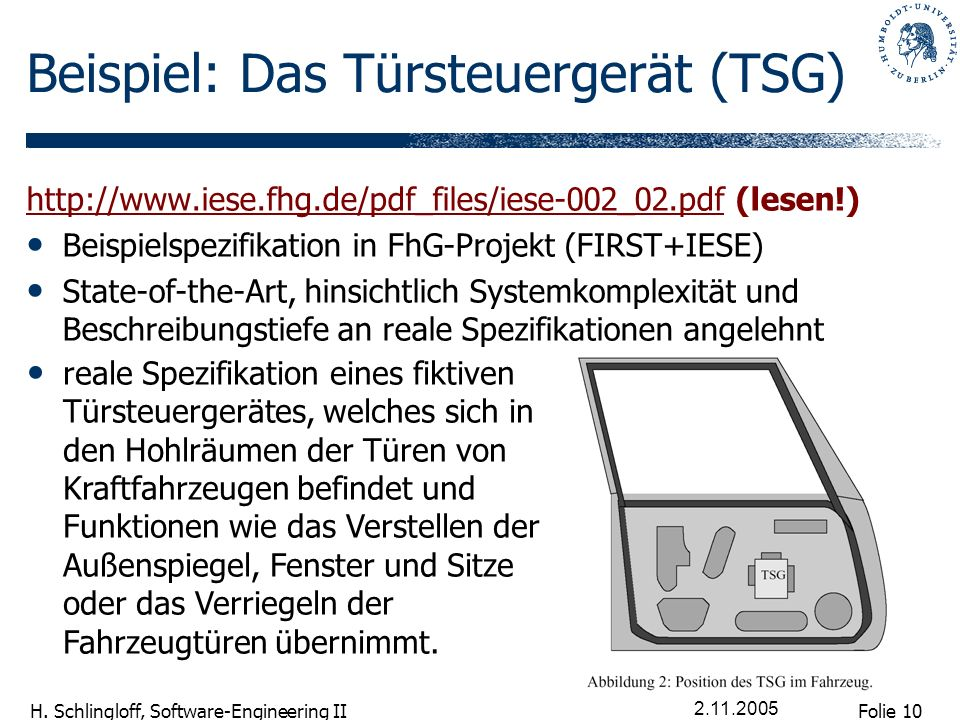 Folie 10 H. Schlingloff, Software-Engineering II 2.11.2005 Beispiel: Das Türsteuergerät (TSG) http://www.iese.fhg.de/pdf_files/iese-002_02.pdf (lesen!