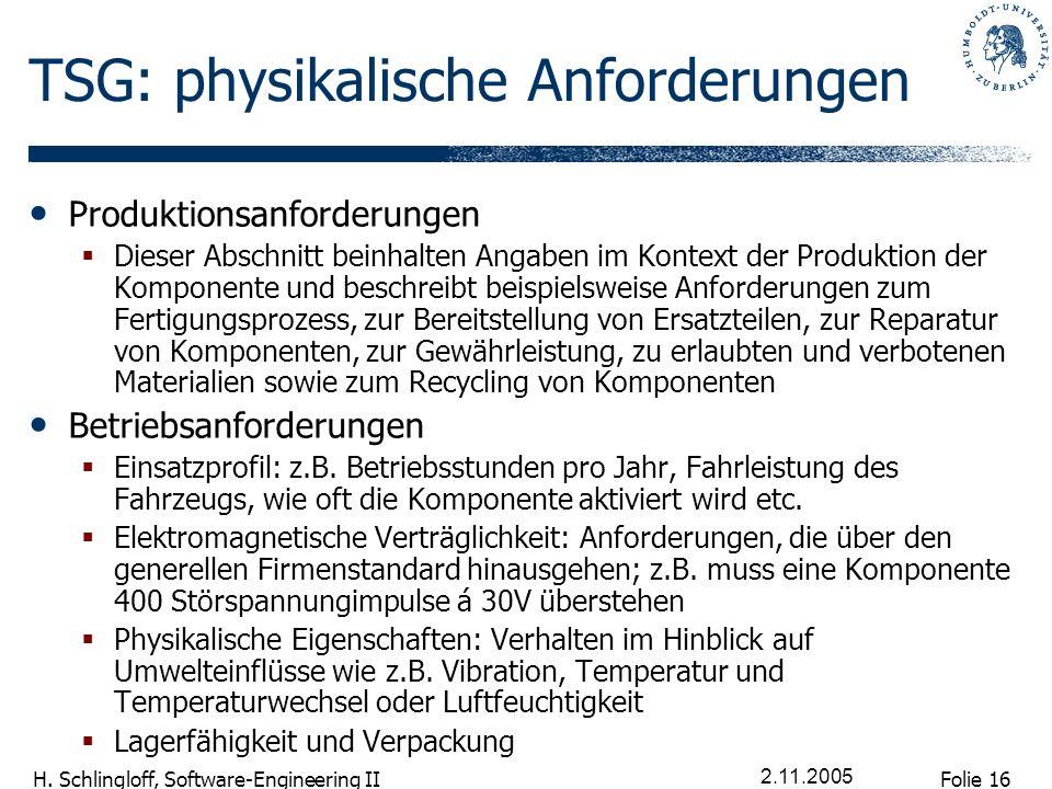 Folie 16 H. Schlingloff, Software-Engineering II 2.11.2005 TSG: physikalische Anforderungen Produktionsanforderungen Dieser Abschnitt beinhalten Angab