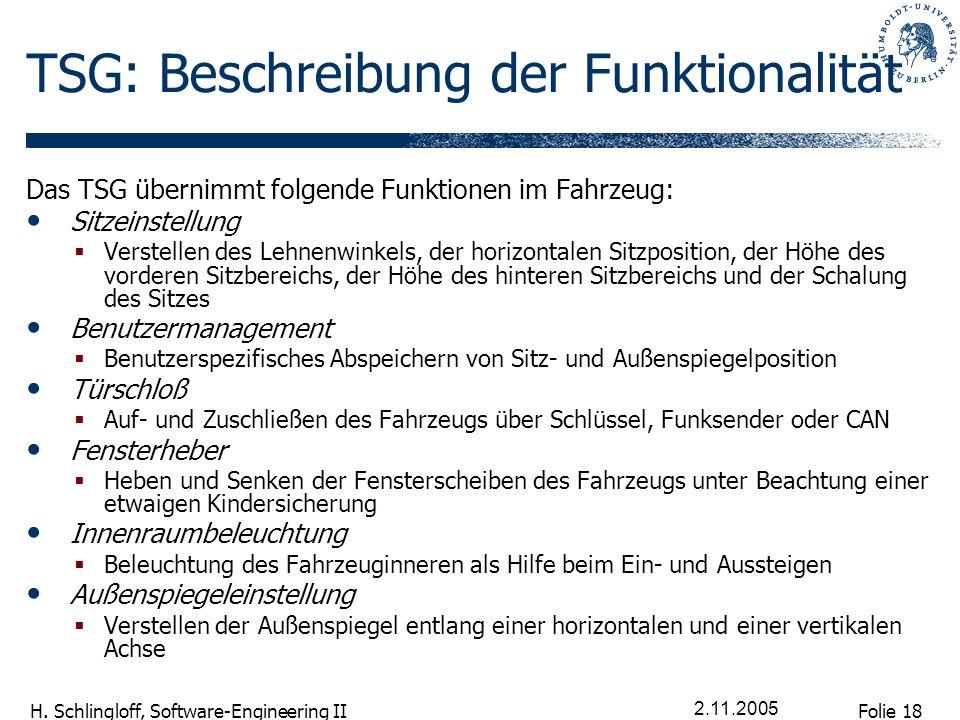 Folie 18 H. Schlingloff, Software-Engineering II 2.11.2005 TSG: Beschreibung der Funktionalität Das TSG übernimmt folgende Funktionen im Fahrzeug: Sit