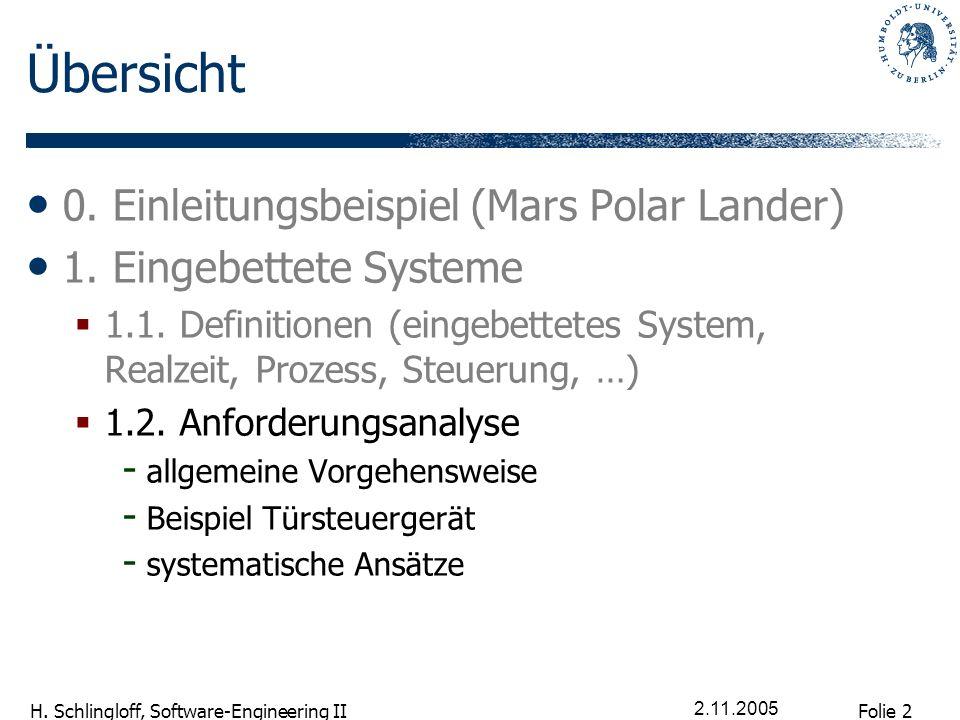 Folie 2 H. Schlingloff, Software-Engineering II 2.11.2005 Übersicht 0. Einleitungsbeispiel (Mars Polar Lander) 1. Eingebettete Systeme 1.1. Definition