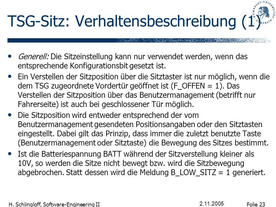 Folie 23 H. Schlingloff, Software-Engineering II 2.11.2005 TSG-Sitz: Verhaltensbeschreibung (1) Generell: Die Sitzeinstellung kann nur verwendet werde