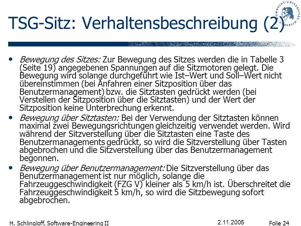 Folie 24 H. Schlingloff, Software-Engineering II 2.11.2005 TSG-Sitz: Verhaltensbeschreibung (2) Bewegung des Sitzes: Zur Bewegung des Sitzes werden di