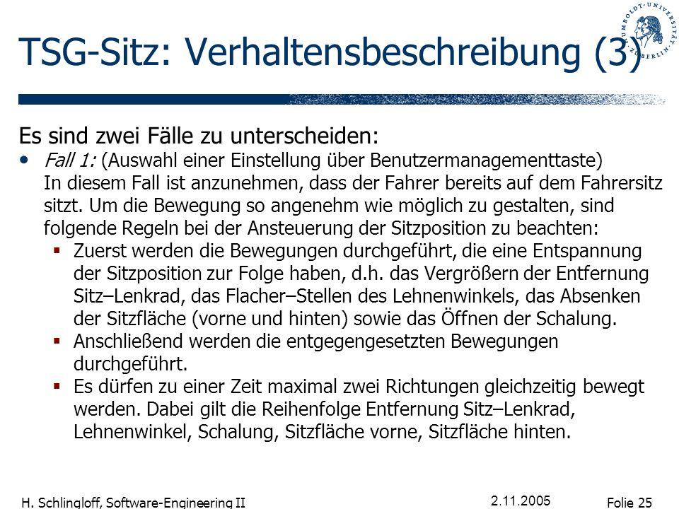 Folie 25 H. Schlingloff, Software-Engineering II 2.11.2005 TSG-Sitz: Verhaltensbeschreibung (3) Es sind zwei Fälle zu unterscheiden: Fall 1: (Auswahl