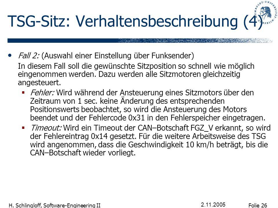Folie 26 H. Schlingloff, Software-Engineering II 2.11.2005 TSG-Sitz: Verhaltensbeschreibung (4) Fall 2: (Auswahl einer Einstellung über Funksender) In