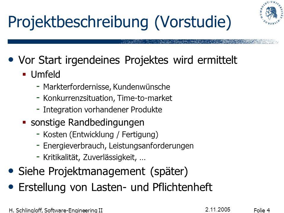 Folie 4 H. Schlingloff, Software-Engineering II 2.11.2005 Projektbeschreibung (Vorstudie) Vor Start irgendeines Projektes wird ermittelt Umfeld - Mark