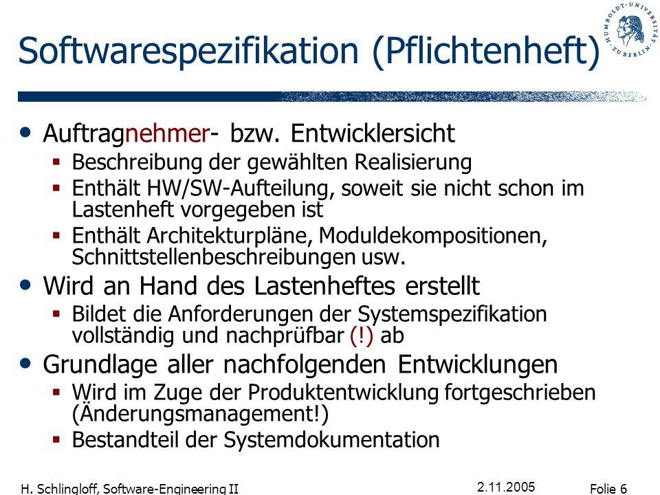Folie 6 H. Schlingloff, Software-Engineering II 2.11.2005 Softwarespezifikation (Pflichtenheft) Auftragnehmer- bzw. Entwicklersicht Beschreibung der g