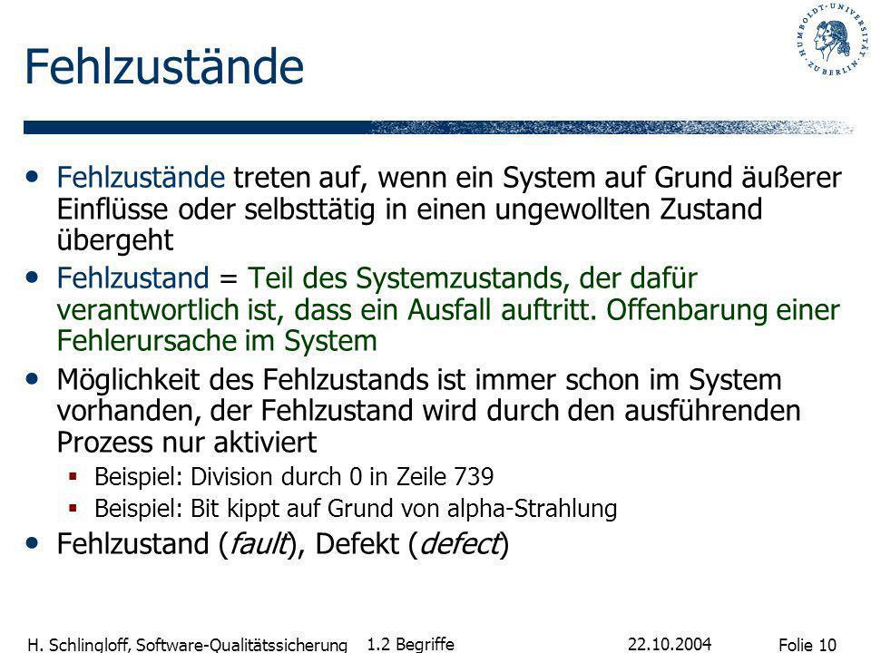 Folie 10 H. Schlingloff, Software-Qualitätssicherung 22.10.2004 1.2 Begriffe Fehlzustände Fehlzustände treten auf, wenn ein System auf Grund äußerer E