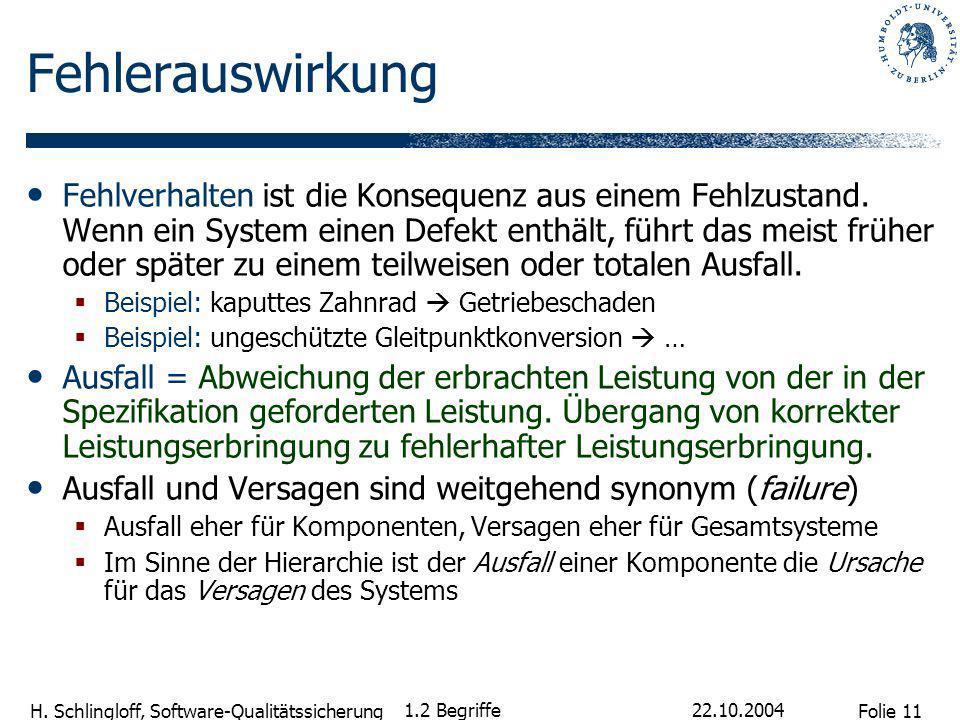 Folie 11 H. Schlingloff, Software-Qualitätssicherung 22.10.2004 1.2 Begriffe Fehlerauswirkung Fehlverhalten ist die Konsequenz aus einem Fehlzustand.