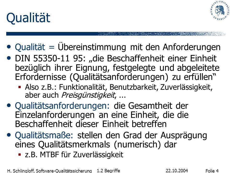 Folie 4 H. Schlingloff, Software-Qualitätssicherung 22.10.2004 1.2 Begriffe Qualität Qualität = Übereinstimmung mit den Anforderungen DIN 55350-11 95: