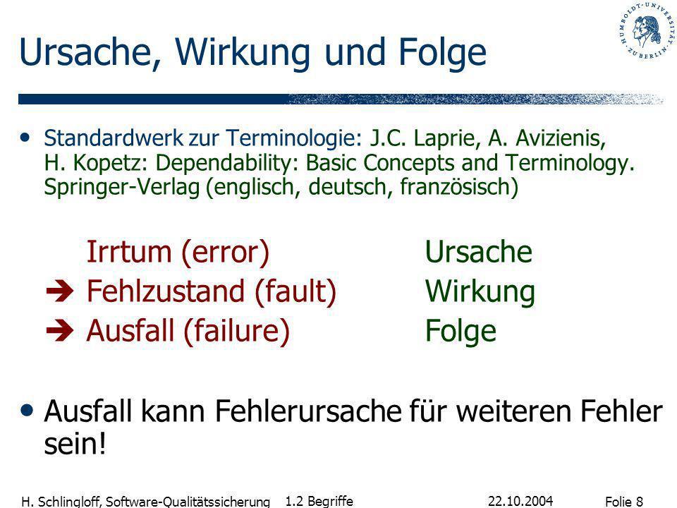 Folie 8 H. Schlingloff, Software-Qualitätssicherung 22.10.2004 1.2 Begriffe Ursache, Wirkung und Folge Standardwerk zur Terminologie: J.C. Laprie, A.